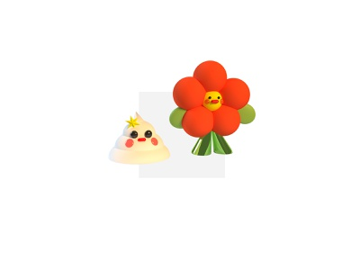 A Poo and his friend poo flower cute illustration