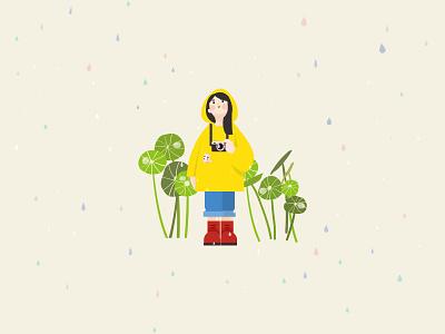 Raining spring girl rainy colorful illustration