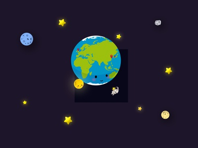 The Earth Day drawing star universe design illustration