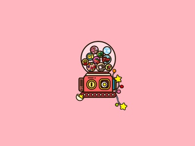 Gashapon machine illustration