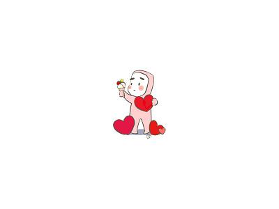 Ice cream love heart boy illustration