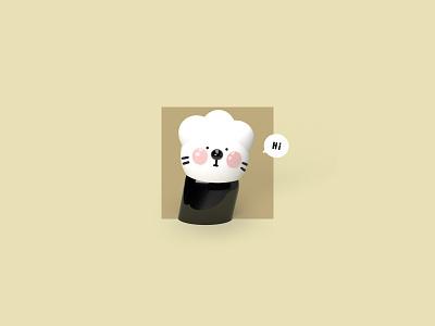 Put your hands up cat 3d illustration