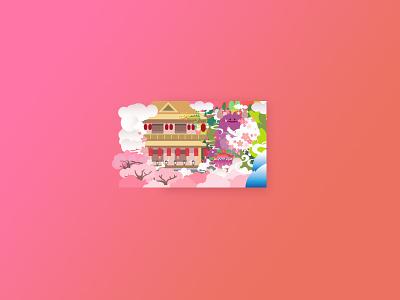 Spring & Summer architecture monster flowers sakura colorful illustration