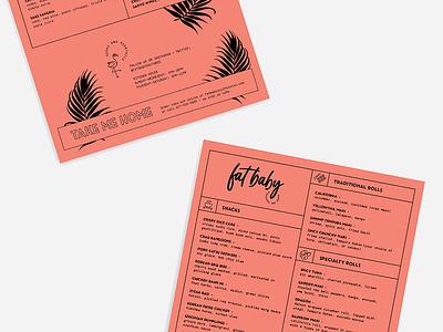 Fat Baby Menu Design sushi restaurant menu branding
