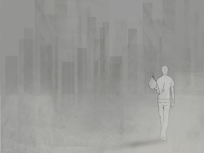Lonely Traveller Digital Illustration