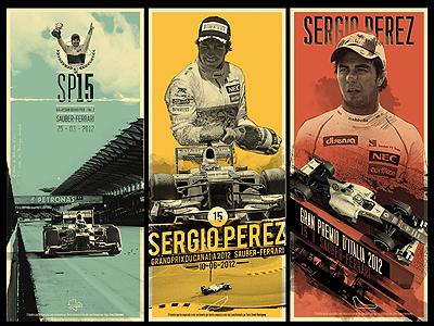 Tríptico Sergio Perez free throw illustration digital checo perez f1