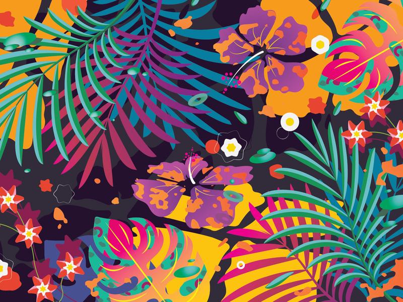Hawaiian Acid Meltdown - Mouse Pad Design flowers hawaiian