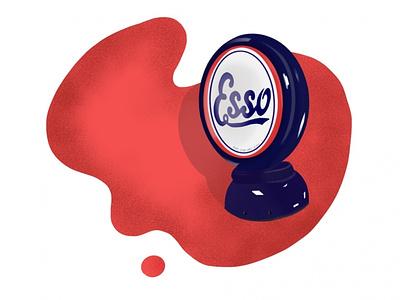 Old Gas pump vintage font vintage logo blue red motor procreate illustration design oldschool car illustration vintage retro