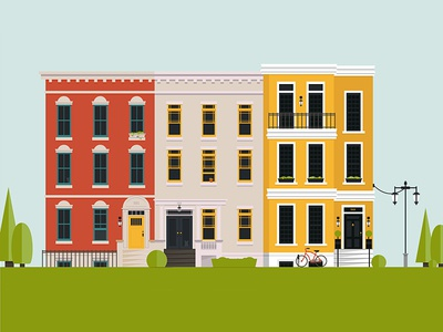Rowhouses rowhouses illustration 2d bicycle flat buildings cityscape city row houses building