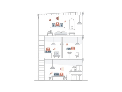 At Home with Beep line art illustration product
