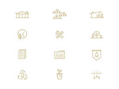 Armfield Icons building sustainable environmentally friendly line art icon set icons