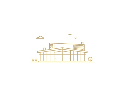 Armfield House construction environmentally friendly sustainable building line art illustration