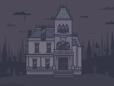 Happy Halloween line art scene ghost spooky illustration house victorian halloween
