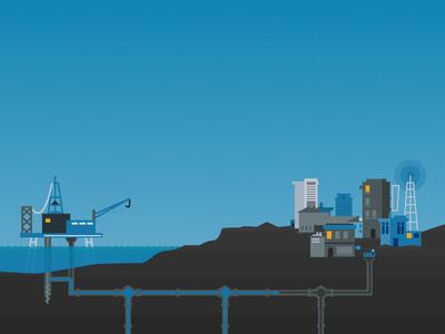 Pipeline Integrity flat design flat texture city rig oil illustration