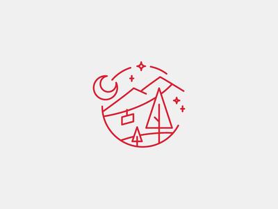 Twinkle, Twinkle line art illustration mountains pine tree ski lift moon stars