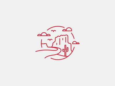 Desert Route red rock illustration icon cactus bird cloud line art desert