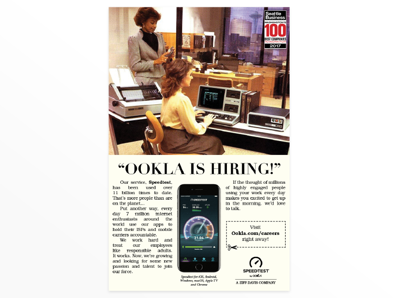 Ookla's Seattle Business Mag Ad