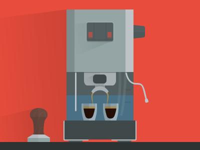 Espressomachine espresso machine gaggia classic coffee flat illustration