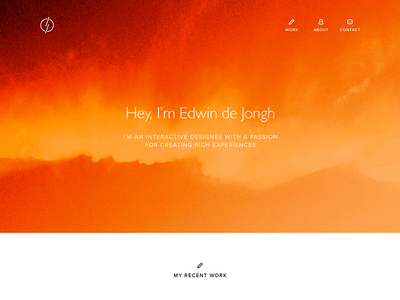 New portfolio portfolio color personal work about contact edwin de jongh interactive design showcase
