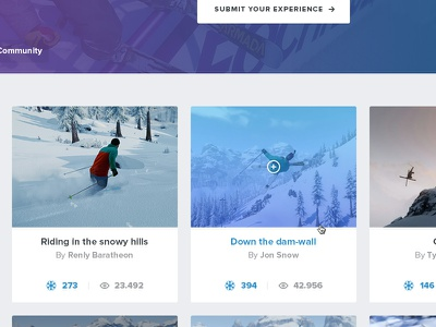 Snow Community page snow wintersports game website community grid media video posts modular voting rating