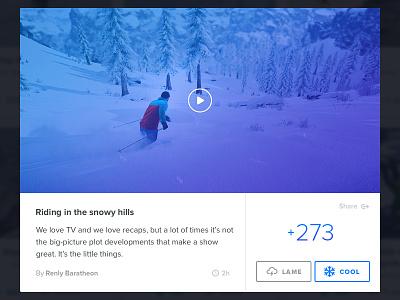 Snow Community page Modalbox modalbox lightbox snow wintersports post detail popup upvote share points