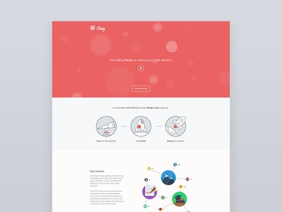 Aimy landing page landingpage startup aimy dreams goals illustrations flat onepage header scroll