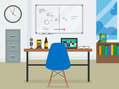 Wortell Workspace workspace illustration flat microsoft office desk chair animation