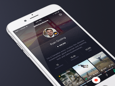 Channel Profile page bio user library videos shots iphone mobile gosling app channel page profile