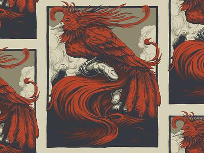The Red Bird poster art brush pen ink photoshop design illustration