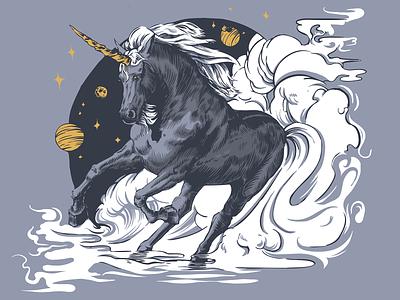 Black Unicorn design vector vector illustration illustration unicorn