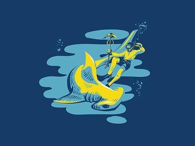 Spearfishing spearfish diver shark illustration vector