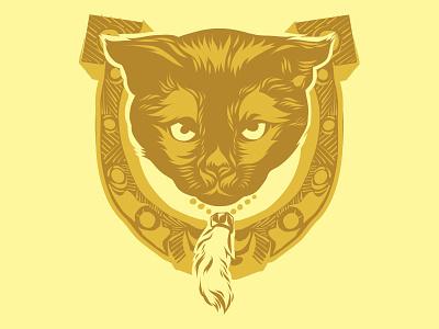 Mad Luck rabbits foot horseshoe ipad luck cat illustration vector