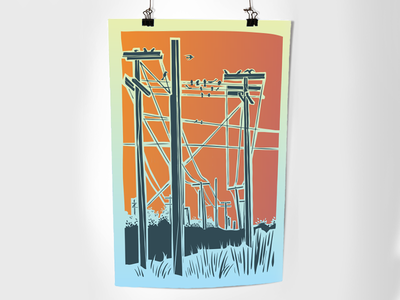 Power telephone poles print design illustration vector poster design