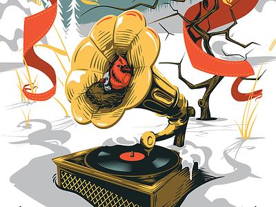 Jammies 17 gig poster poster gramophone birds adobe draw vector illustration vector illustration