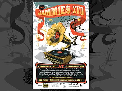 Jammies 17 - Full gramophone birds gig poster vector illustration vector illustration