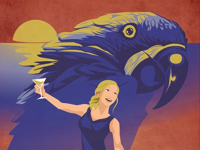 Uccello del Paradiso retro bird poster vector