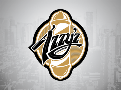 Izzy'z - WIP razor barber pole barbershop logo lettering wip
