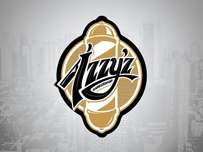 Izzy 2 lettering razor wip barbershop vector logo
