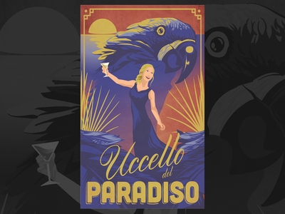 Uccello Del Paradiso typography retro vector illustration