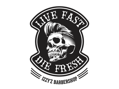 Live Fast, Die Fresh patch barbershop skull illustration vector