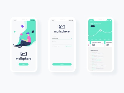 Mailsphere Mobile App dashboard mobile app app ux ui design brand identity branding