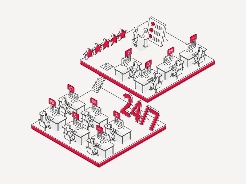 Databarracks Illustration 01 - Customer Service isometric poster print graphic design illustration design