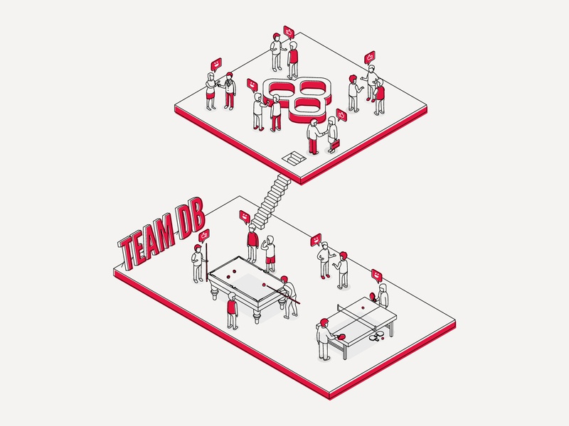 Databarracks Illustration 02 | Team Work poster isometric graphic design print branding illustration design