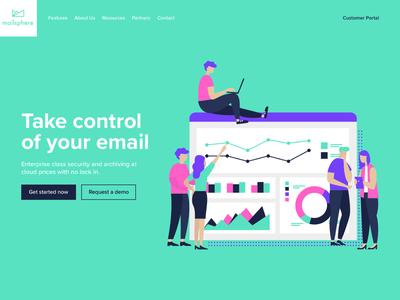 Mailsphere | Web Design brand identity branding website illustration design