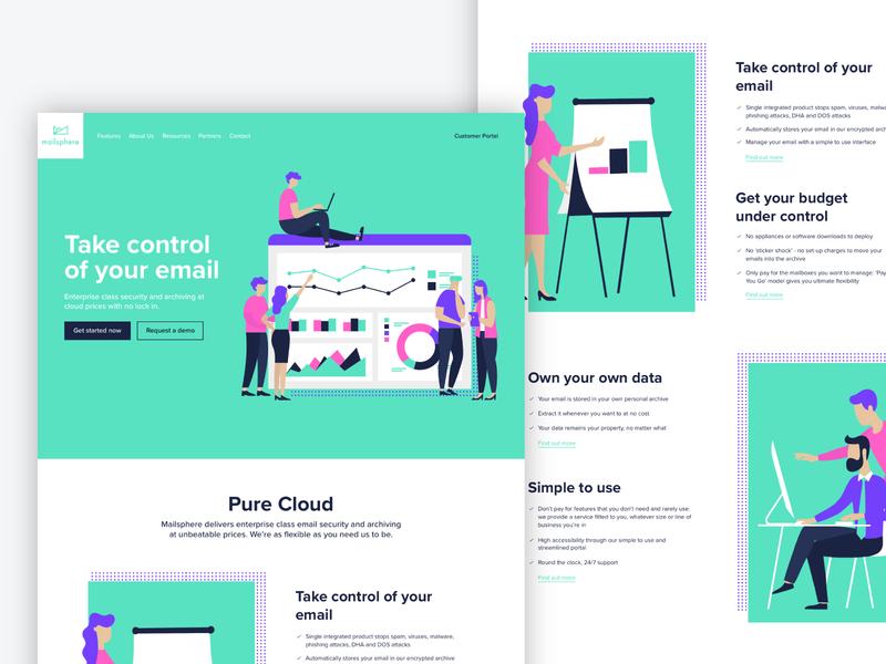 Mailsphere | Web Design ui website brand identity branding illustration design
