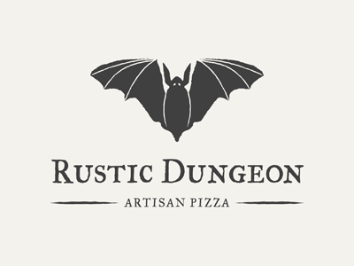 Rustic Dungeon Logo artisan pizza logo bat
