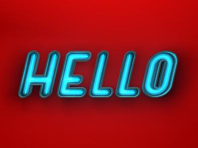 Hello render c4d typography 3d neon