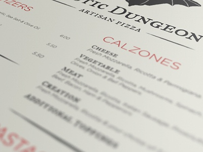 Menu Design artisan pizza menu