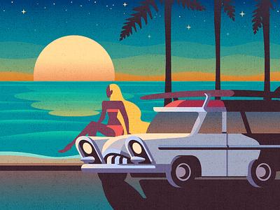 Sunset sea beach board surf car retro sunset
