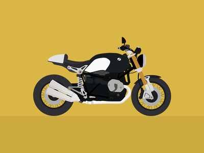 BMW R NINET • Poster poster illustration vector bmw ninet motorcycle flat